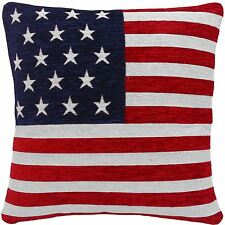 "STARS AND STRIPES AMERICAN FLAG CHENILLE RED WHITE BLUE 18"" CUSHION COVER"