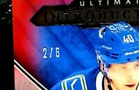 2018-19 ELIAS PETTERSSON Rookie Ultimate Introductions RED /6 Excellent Surface