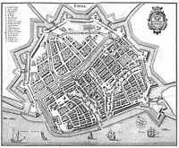 Map Antique Merian 1647 Emden City Plan Old Large Replica Canvas Art Print