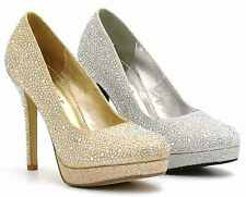 WOMANS LADIES HIGH HEEL SPARKLY DIAMANTE PARTY BRIDAL WEDDING COURT SHOES SIZE