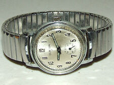 Vintage CLINTON Mechanical Wind-Up Stainless Wrist Watch with Spiedel Flex band