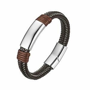 Men's Weave Leather Bracelet Bangle With Stainless Steel Magnetic Buckle