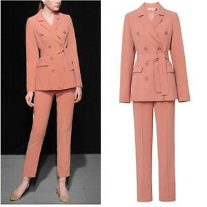 New Womens OL Blazer Jacket Formal Double Breasted Coat Pants Trousers 2Pcs Suit