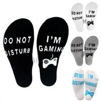 """Unisex Funny Socks """"DO NOT DISTURB I AM GAMING"""" Men Women Funny Letter Socks TKL"""