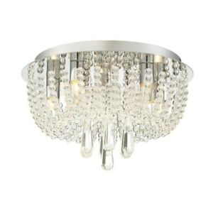 NIB Quoizel Chateu 13.8-in Polished Chrome Dimmable Flush Mount Chandelier Light