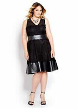 NEW NOIR Black Lace Overlay Dress with Faux Leather Women's Size 16