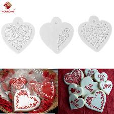 3Pcs Baking Decor Love Heart Milk Coffee Cake Cupcake Stencil Template Mold Pad