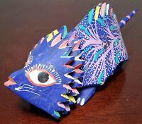 "Hand Made Oaxacan Alebrijes Horned Lizard Hand Painted ""Fantastical"" Beast!"