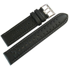 20mm Fluco Black Racing Rallye Rally Tropic German Made Leather Watch Band Strap
