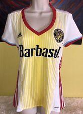 Women's Adidas Climalite MLS Columbus Crew Soccer Jersey Size Medium White
