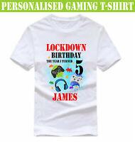 Personalised Lockdown Birthday Gaming Name Age T-Shirt, Quarantine Boys Kids Top