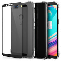 OnePlus 5T Accessories Silicone Gel Case Cover & Tempered Glass Screen Protector