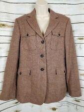 Brooks Brothers Brown Tweed Blazer Womens 12 100% Wool