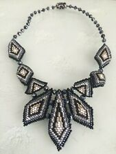 Czech Glass Bead Multi Triangle Statement Pendant Necklace BLACK, SILVER, GREY