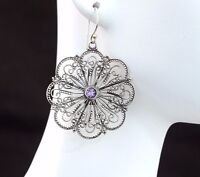 BaliBeauti Genuine Round Stone Sterling Silver Floral Lace Dangling Earrings