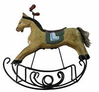 Primitive Handpainted Rocking Horse MCM Wooden Figurine Metal Base Vintage