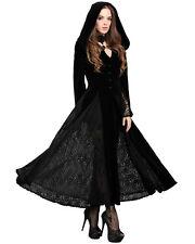 Dark In Love Gothic Hooded Jacket Long Cloak Black Velvet Gown Witch Vampire