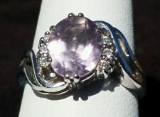 14k White Gold Genuine Rose de France Amethyst & Diamond Ring 5.8 Grams Size 8.5