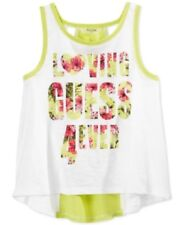Guess Little Girls' Graphic Tank Top, Lime/White, Medium (5-6)
