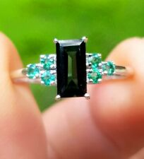 Natural Green Emerald Black Sapphire Solid White 9K Gold Ring Engagement Dress