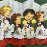 Vintage Mid Century Christmas Greeting Card Cute Choir Boys Holding Candles