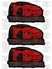 3 pack Red  Mustang Terminator Cobra Ford UV sticker decal set