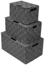 Sorbus Double Woven Stackable Storage Basket Bin 3 Piece Set with Lid and Handle