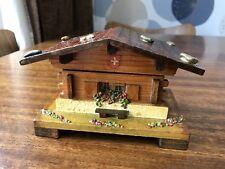 Mid Century Swiss Chalet Jewellery Trinket Music Box Blue Danube Working Retro