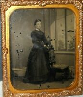 1/6th size Early Tintype full length image of Younger Lady in a brass frame