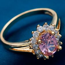 Size 5 Sun Flower Design PINK C.Z Women Real Gold Plated Classic Rings