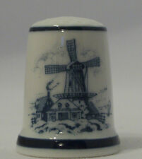 Dutch Windmill Porcelain Thimble Made by Royal Mosa in  Holland TCC Nov. 1984