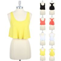 Racerback Scoop Neck Sleeveless Solid Cropped Tank Top Casual Rayon Span S M L