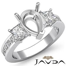 Three 3Stone Diamond Wedding Ring 18k White Gold Princess Pear Semi Mount 1.1Ct