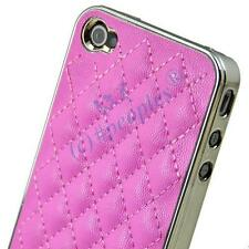 Best Xmas Gift New Pink Luxury Leather Chrome Case Cover for iPhone 4S 4