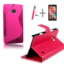 Hot Pink Wallet 4in1 Accessory Bundle Kit Case Cover For Nokia Lumia 930