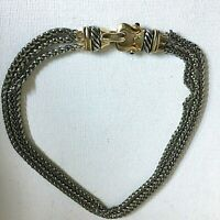 Vintage Animal Head? Clasp Chain Necklace Collar Silver Gold Tone 16in