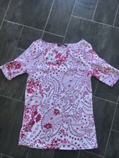 M&S COLLECTION SIZE 12 FUSCHIA/PINK & WHITE FLORAL STRETCH TUNIC T-SHIRT NWOTS