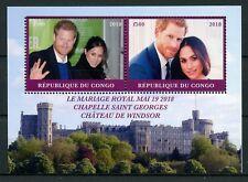Congo 2018 MNH Prince Harry & Meghan Royal Wedding 2v M/S Royalty Stamps