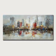 Mintura Handmade  Oil Paintings On Canvas  Abstract Urban Buildings  Home Decor