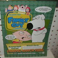 FAMILY GUY SEASON 2  TRADING CARDS -SELL SHEET  8 1/2 X 11