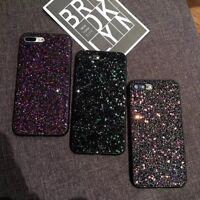 For Apple iPhone 7 X 8 6s Plus Slim Bling Glitter Hard PC Back Cover Phone Case