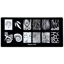 Rectangle Nail Art Stamp Stencils Snail Shell Butterfly Nail Metal Template A-30