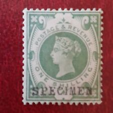 Gb Qv One shilling Green Stamp Overprinted Specimen Mint hinged