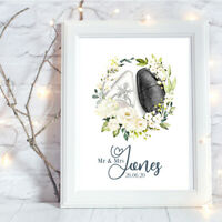 Personalised A4 Print,Watercolour Wedding Shoes, Gift, Wall Art-NO FRAME