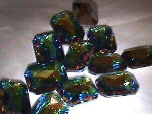 18 Vintage Huge Vitrail Dark 30x22 Emerald Cut Vintage German Rhinestones 3 Wrap