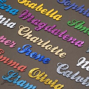 Color Painted Script Names Letters Words MDF Personalised  Glitter 20 fonts