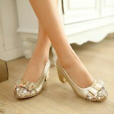US4-13 Lady Womens Sequins Block Mid Heel Pump Bowknot Date Dress Party Shoes SZ