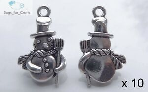 10 Silver Alloy 3D Snowman with Scarf & Broom Christmas Charm Pendant 24mm (TC2)