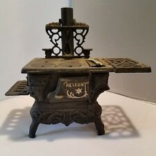Vintage Crescent Cast Iron Dollhouse Toy Stove w/Amish Salt & Pepper Shakers