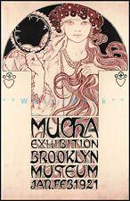 Brooklyn Museum 1921 Mucha Exhibition Vintage Poster Print Art Nouveau Decor